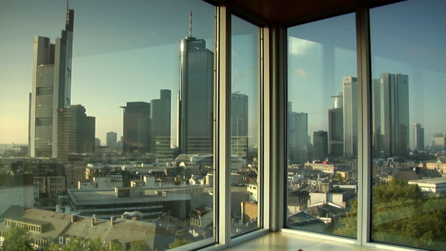 WS, Financial district seen through window, Frankfurt am Main, Germany