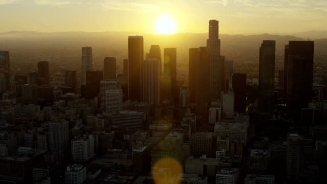 LA Financial District Skyscrapers At Sunset