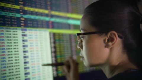 vidéos et rushes de les chiffres financiers écran femme. - donnée