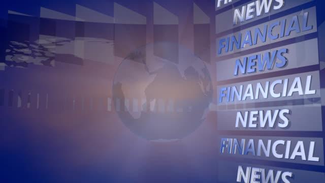 vídeos de stock, filmes e b-roll de notícias financeiras fundo com um globo giratório - television show