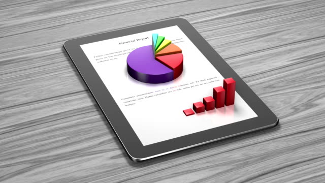 3D Financial Report on Tablet