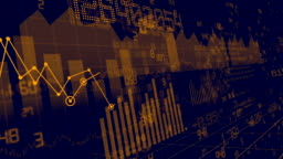 Financial stock, bars and numbers