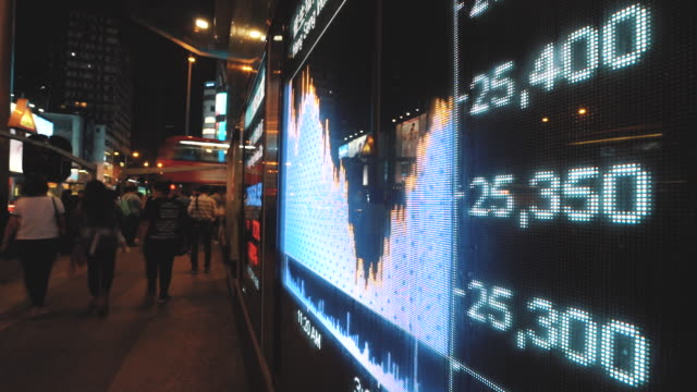 financial stock market numbers and city light reflection, timelapse - trading screen stock videos & royalty-free footage