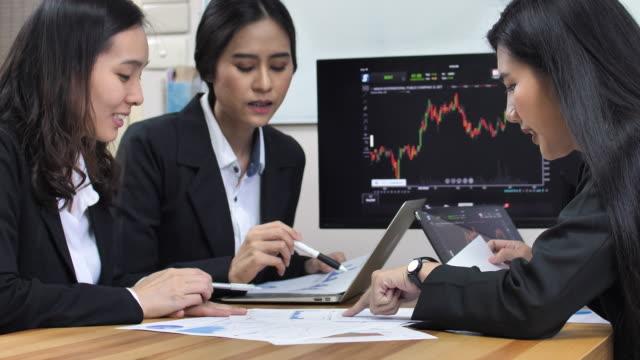 Financial Teamwork Analyzing Stock Market Data