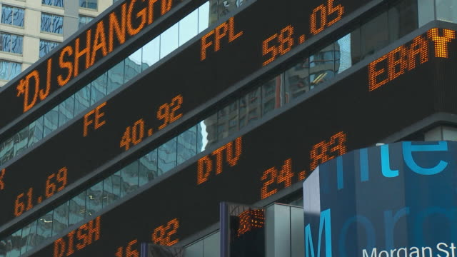cu la financial ticker sign / new york city, usa - 株価点の映像素材/bロール