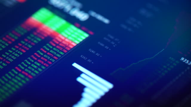 financial trading chart at digital display close-up - auction stock videos and b-roll footage