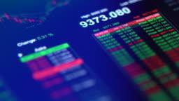 Financial trading chart at digital display close-up