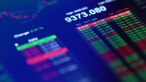 financial trading chart at digital display close-up - exchanging stock videos & royalty-free footage