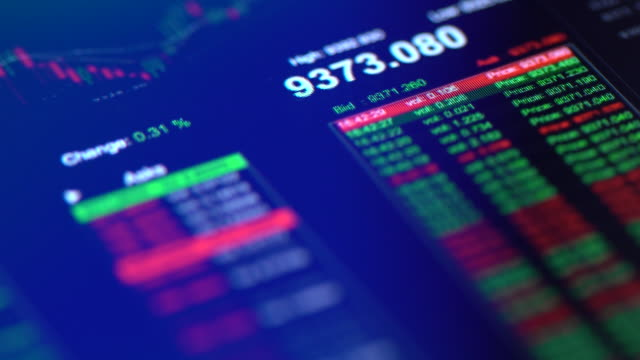 financial trading chart at digital display close-up - finanza video stock e b–roll