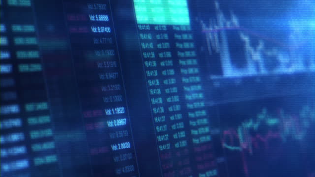 financial trading chart at digital display - exchanging stock videos & royalty-free footage