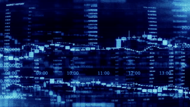 vídeos de stock e filmes b-roll de financial trading chart at digital display - símbolo