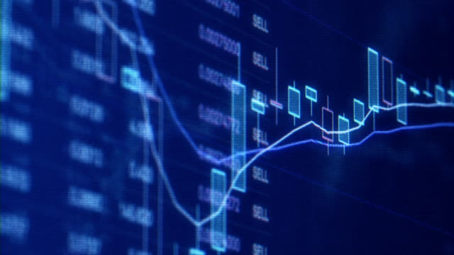 financial trading chart at digital display - market trader stock videos & royalty-free footage