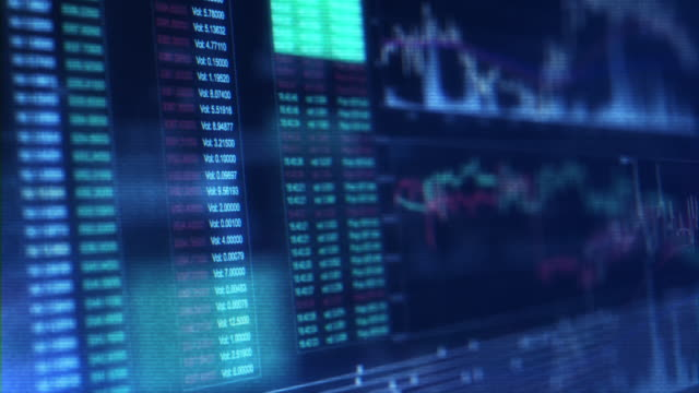 financial trading chart at digital display - image manipulation stock videos and b-roll footage