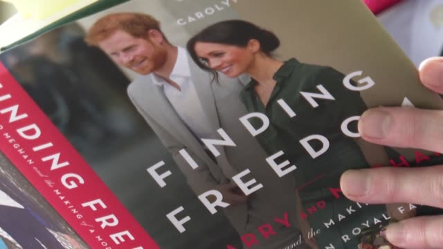 finding freedom', a biography of the duke and duchess of sussex written by journalists omid scobie and carolyn durand, is released in uk bookshops,... - book stock videos & royalty-free footage