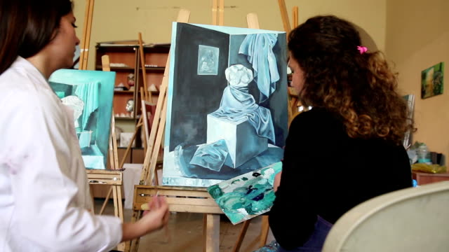 fine art students painting - art class stock videos & royalty-free footage