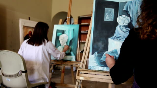 fine art students painting - art studio stock videos & royalty-free footage