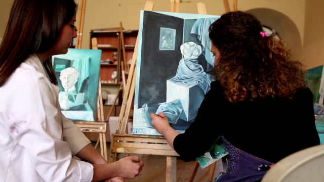 fine art students painting - painted image stock videos and b-roll footage