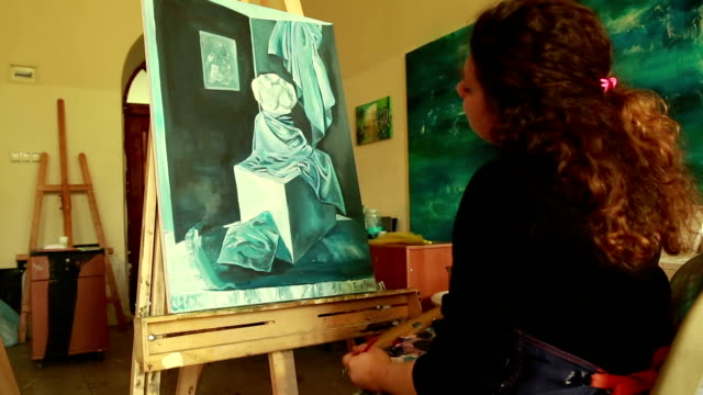fine art students painting - high school student stock videos & royalty-free footage