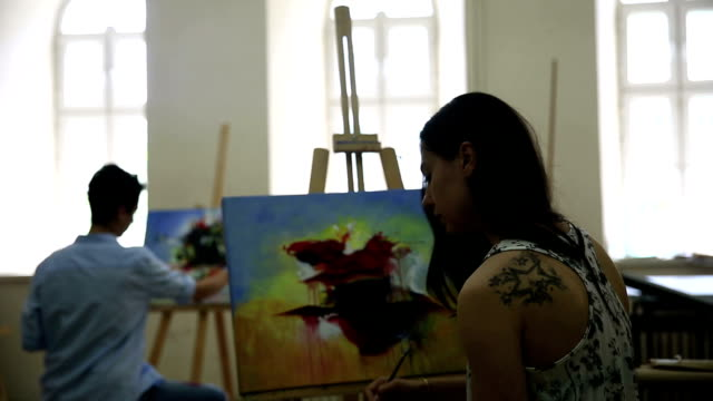 fine art students - art class stock videos & royalty-free footage