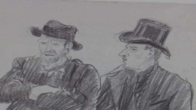 van gogh exhibition opens at tate britain uk pimlico people looking at artworks in the 'van gogh and britain' exhibition at tate britain close shots... - fine art portrait stock videos & royalty-free footage