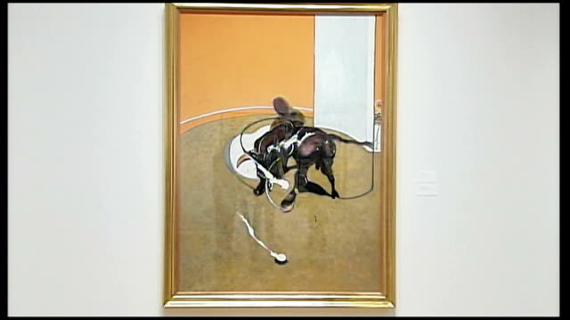 volatile international art market usa new york francis bacon's 'second version of study for bullfight no 1' painting francis bacon 'self portrait'... - fine art portrait stock videos & royalty-free footage