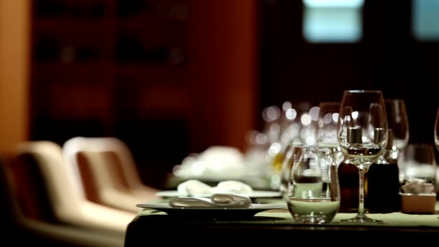 fine dining restaurant set - dining table stock videos & royalty-free footage
