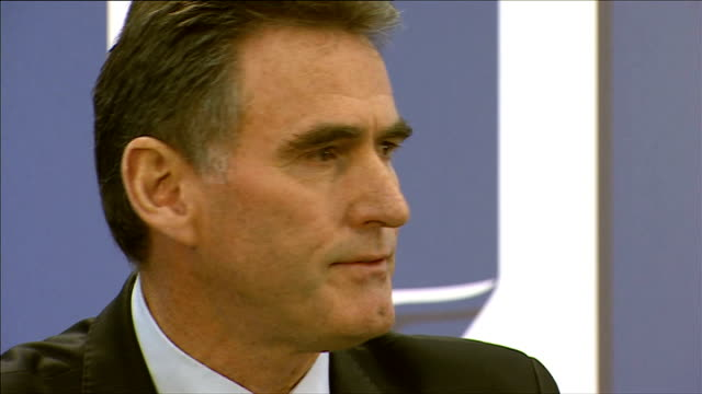 rbs fined over its part in rigging interest rates lib / various of ross mcewan chief executive rbs speaking at podium on first day at rbs - tauwerk stock-videos und b-roll-filmmaterial