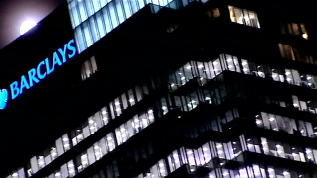 rbs fined over its part in rigging interest rates t06071203 / tx barclays headquarters building at night - tauwerk stock-videos und b-roll-filmmaterial