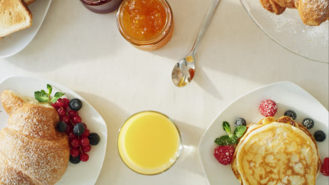 finely prepared breakfast table - breakfast stock videos & royalty-free footage