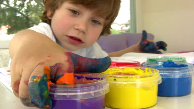 finger painting. - art and craft stock videos & royalty-free footage