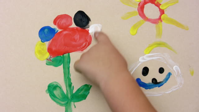 vidéos et rushes de peinture au doigt (hd - illustration