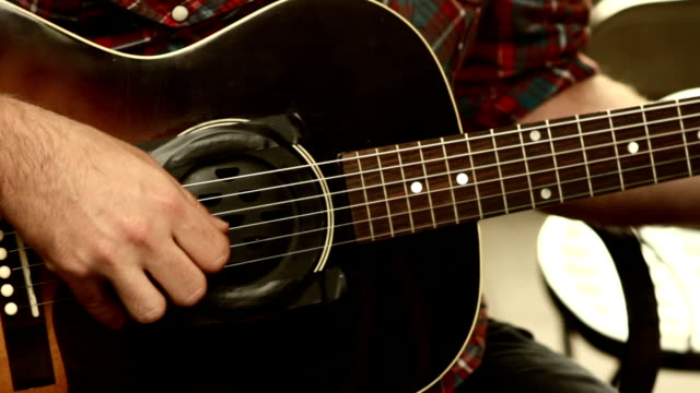 finger picking acoustic guitar - fretboard stock videos and b-roll footage