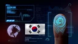 Finger Print Biometric Scanning Identification System. South Korea Nationality