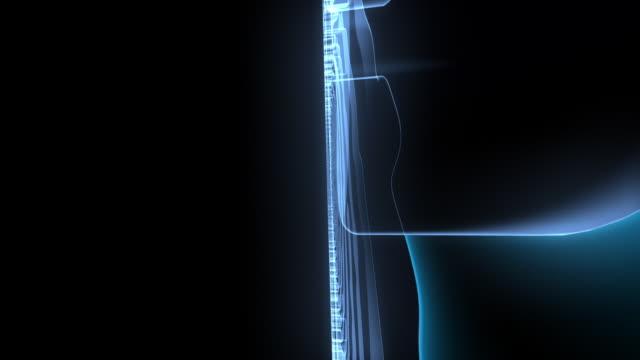 CU CGI Finger print rotating on black background.