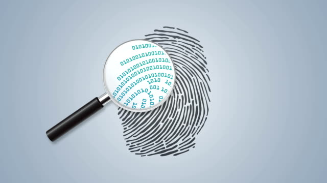 finger print with magnifying glass and binary code - forensic science stock videos & royalty-free footage