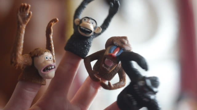 finger puppet monkeys dancing - puppet stock videos and b-roll footage