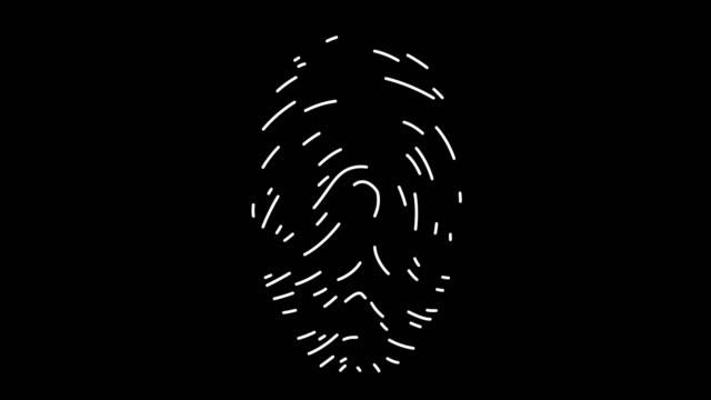 fingerabdruckanalyse linie icon animation - finger stock-videos und b-roll-filmmaterial