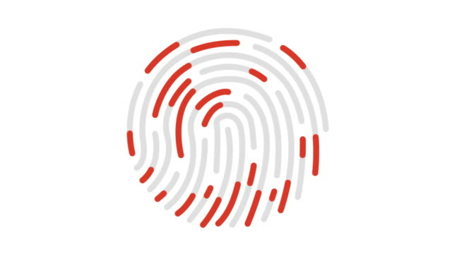 fingerprint analysis line icon animation - scrutiny stock videos & royalty-free footage