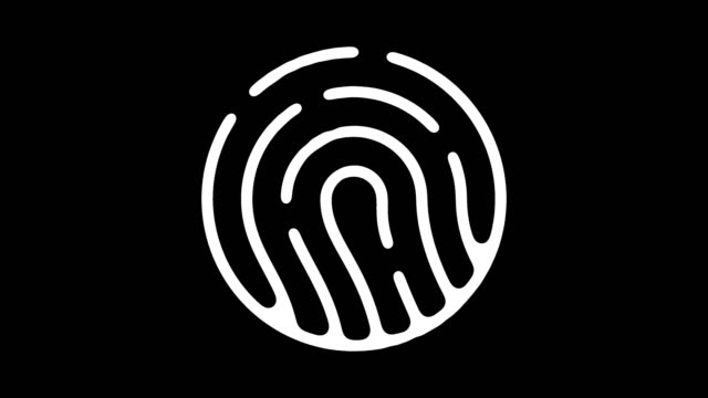 fingerprint analysis line icon animation with alpha - fingerprint stock videos & royalty-free footage