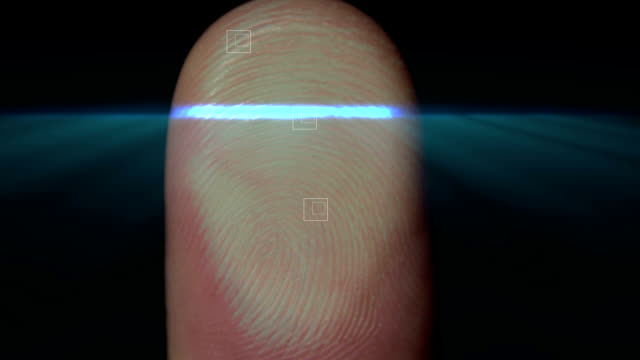 fingerprint biometrics - primissimo piano video stock e b–roll