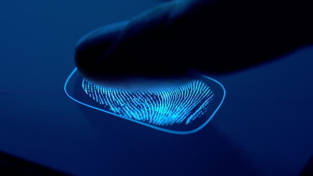 fingerprint identification - access granted - fühler stock-videos und b-roll-filmmaterial