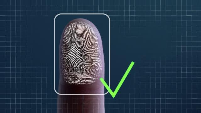 fingerprint identification - access granted - 指紋点の映像素材/bロール