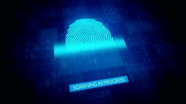 fingerabdruck-identifikation, sicherheits-scanning 4k-animation - schützen stock-videos und b-roll-filmmaterial