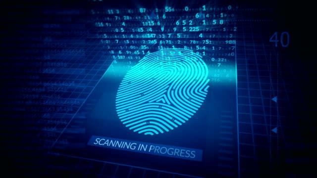 fingerabdruck-identifikation, sicherheits-scanning-animation. zugang gewährt, futuristisches digitales technologiekonzept. - fingerabdruck stock-videos und b-roll-filmmaterial