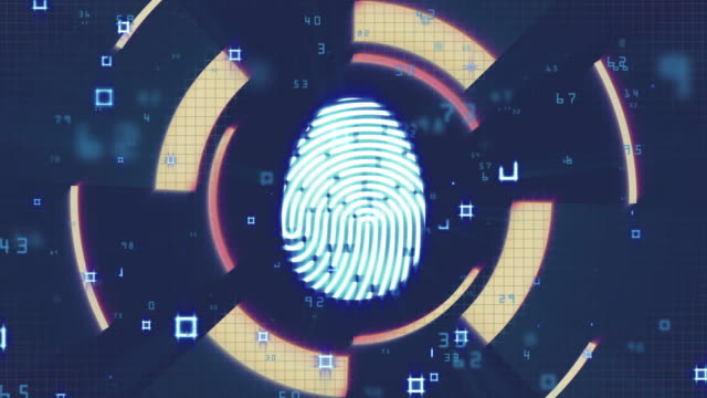 fingerprint investigation, network security, cyber security, digital protection, computer hack background - censorship stock videos & royalty-free footage