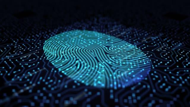 fingerprint scanner 3d loop animation - network security stock videos & royalty-free footage