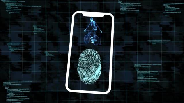 fingerprint smartphone - toccare video stock e b–roll