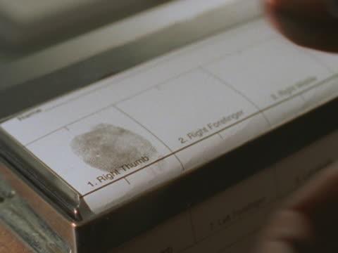 fingerprints inked on paper - fingerprint stock videos & royalty-free footage