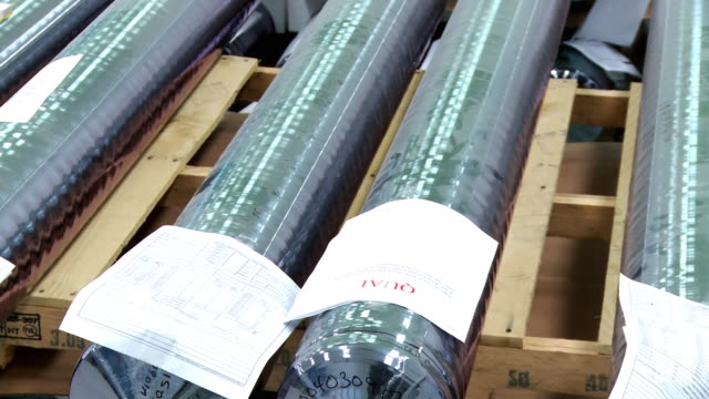 cu zo ms finished crystals stacked in rows after completion of crystal growing process in furnaces at solar manufacturing plant solarworld, hillsboro, oregon, usa - plant process stock videos & royalty-free footage