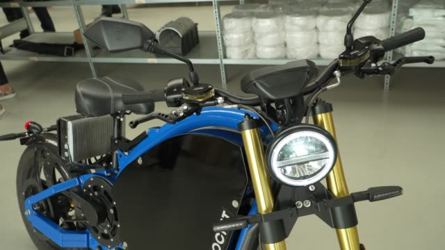 finished erockit pedal-powered electric motorcycle stands at the erockit production facility near berlin during the coronavirus pandemic on august... - electricity stock videos & royalty-free footage